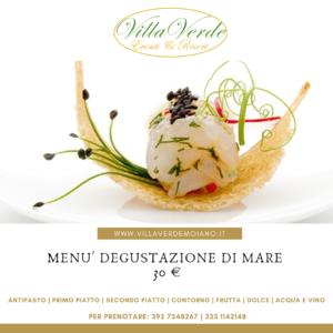 Menù degustazione di mare Villa Verde Eventi