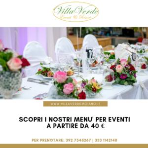 Menu Eventi | Villa Verde Eventi & Resort